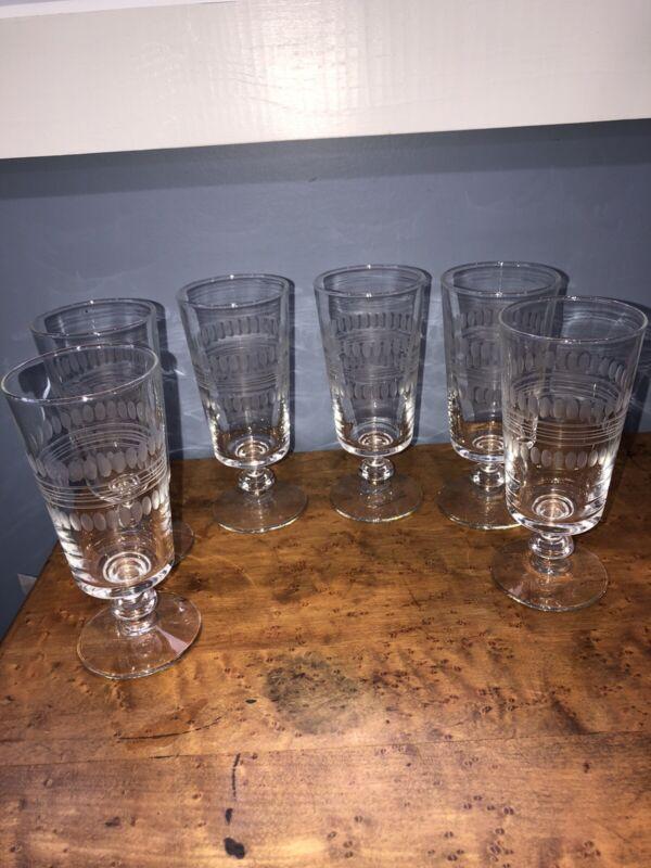 """Vintage Set Of (6) Etched 6 3/4""""  Water Glasses Goblet Stemware"""