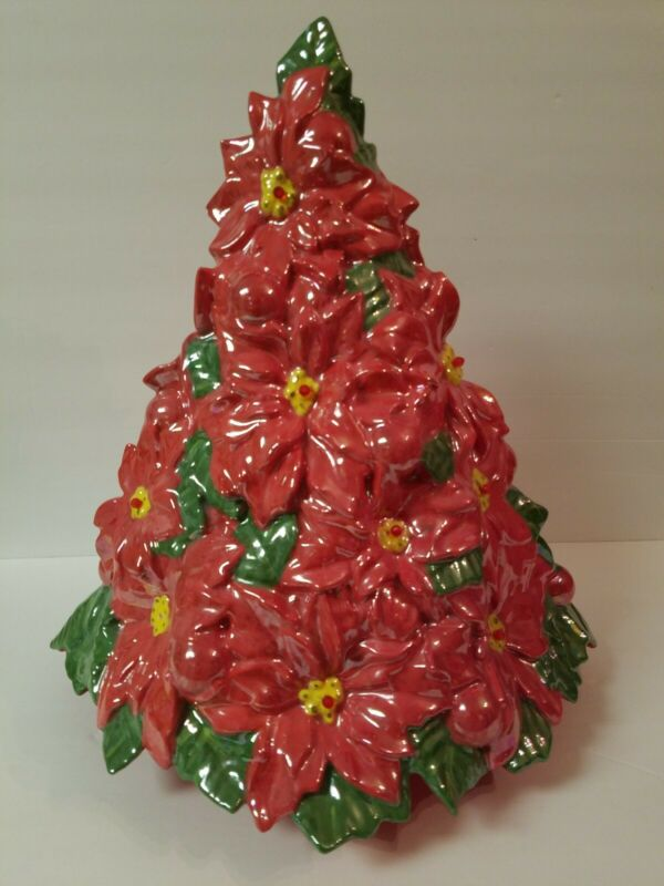 "17"" Rare Ceramic Poinsettia Christmas Tree w/Lights Vintage Atlantic Mold"