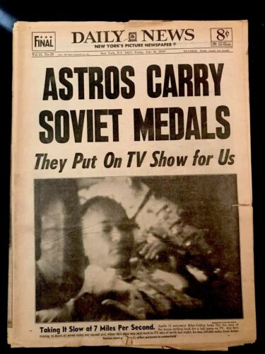 New York Daily News Friday July 18, 1969 Astros Carry Soviet Medals