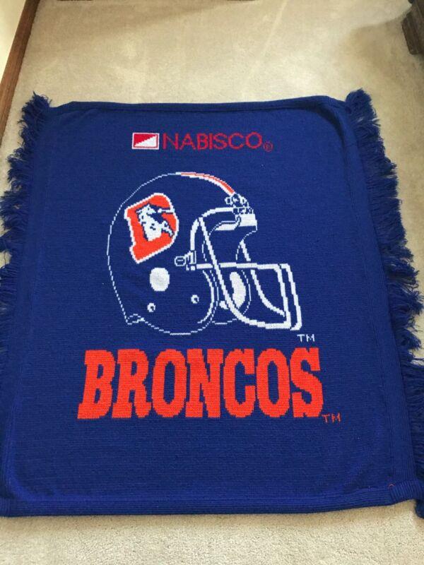 Vtg Denver Broncos Football Lap Blanket Denver D Nabisco Cracker 3 Strike NY NFL