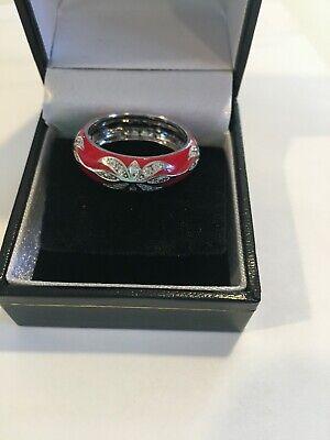 Hidalgo Sterling Silver Red Enamel Ring w/ CZ Size 9 1/4