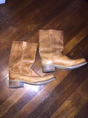 DINGO ACME MARBLED TAN LEATHER CAMPIS BOOTS MEN'S 13 D (12) MADE IN USA
