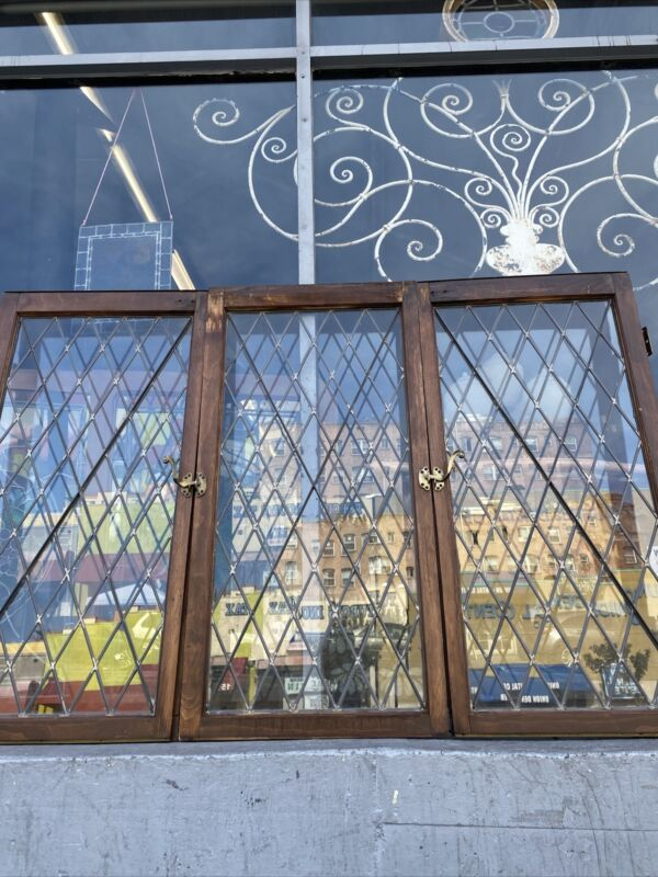 Spanish Tudor  Diamond Leaded Glass Windows Three Piece 47.5 Tall By 71.5 Wide