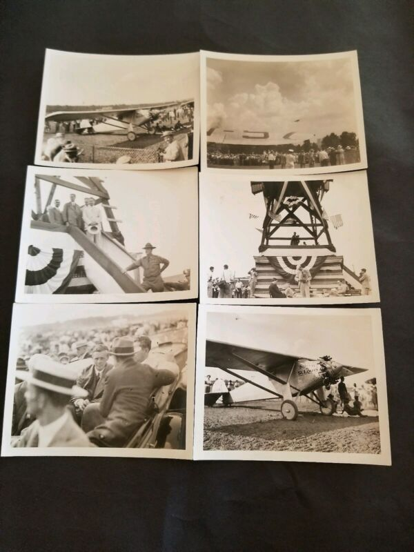 6 Original Vintage Snapshot Photographs Charles Lindbergh Spirit Of Saint Louis