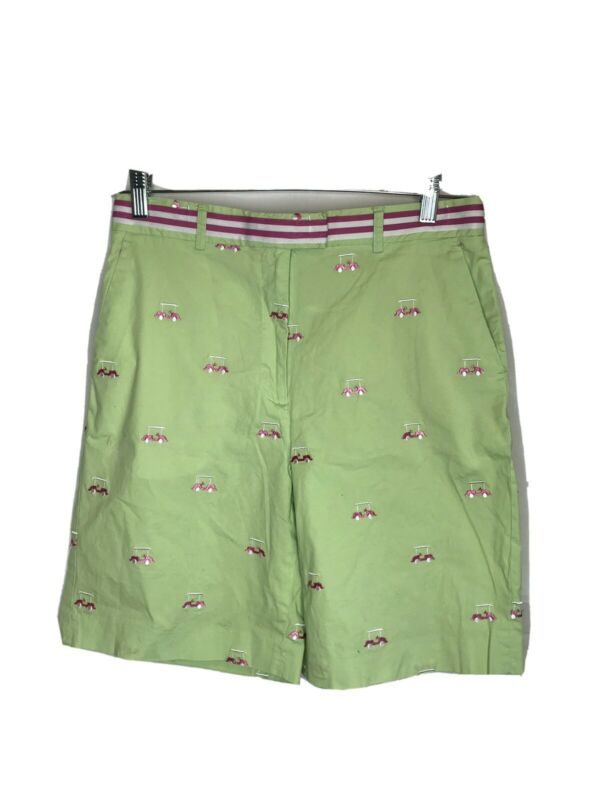 Vintage Lilly Pulitzer Bermuda Stretch Cotton Golf Cart Shorts Size 8 Green Pink
