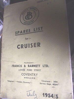 FRANCIS BARNETT CRUISER SPARES LIST EDITION 1954/5