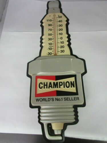 VINTAGE ADVERTISING CHAMPION SPARK PLUGS PLASTIC THERMOMETER SHOP GARAGE  A-38