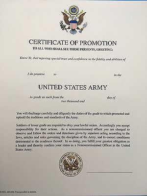 U.S. ARMY PROMOTION CERTIFICATE PVT - SPC EMBOSSED MINT CONDITION UNISSUED