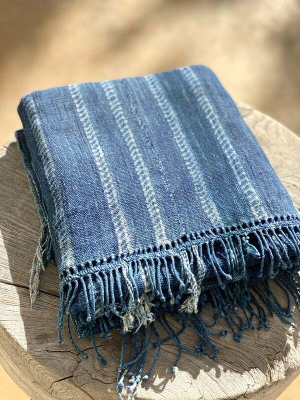 Vintage African Indigo Denim Shibori Stripe Mossi Mudcloth | No. 45