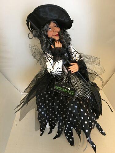 Halloween Witch Doll Shelf Sitter Black Fancy Dress Mantel Tabletop Decor NEW