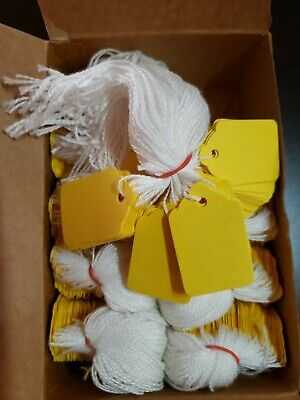 1000 Yellow Price Tag String Merchandise Garment Hang Coupon Strung Label Retail