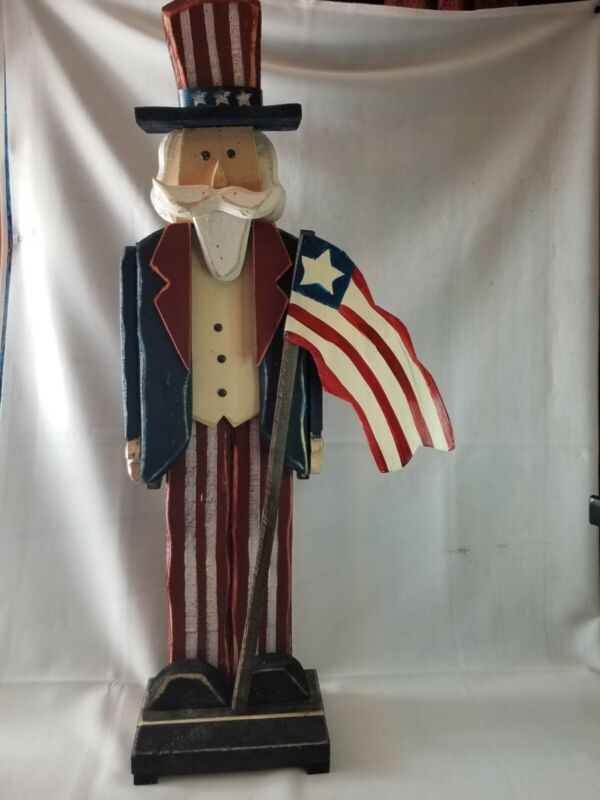 Plow and Hearth Wooden Uncle Sam Porch Pal Holding US Flag 39in Tall  LARGE