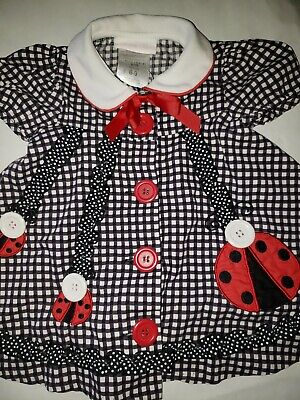 Bonnie Baby Girl's Dress Size 6-9M Black and White Checked Ladybugs Button Front