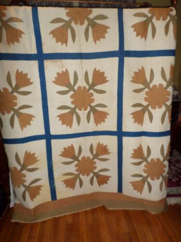"Antique Pre Civil War Hand Made Quilt Signed 85"" x 83"""