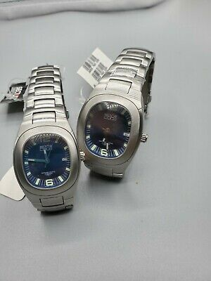 Men's And Ladies Set Of Swiss Sector Watch 760 Blue Date Dial Sapphire Crystal