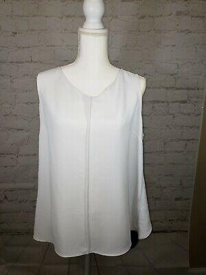 Womens Domino (Cabi Womens Domino Blouse Top Size Large Style #3078 White Black Split Back)