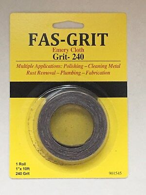 "Forney Emery Cloth Bench Roll 1 /"" X 10 Yard 80grit"