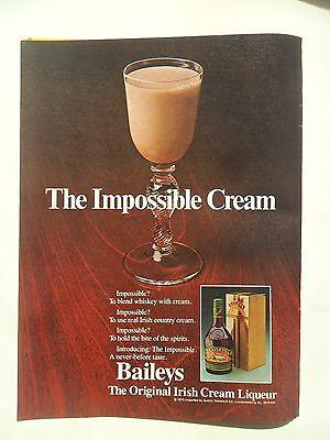 1980 Print Ad Baileys Irish Cream Liqueur ~ The Impossible Cream