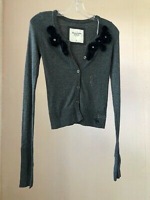 NWT ABERCROMBIE & FITCH - Size XS - Grey/Navy Sweater Cardigan