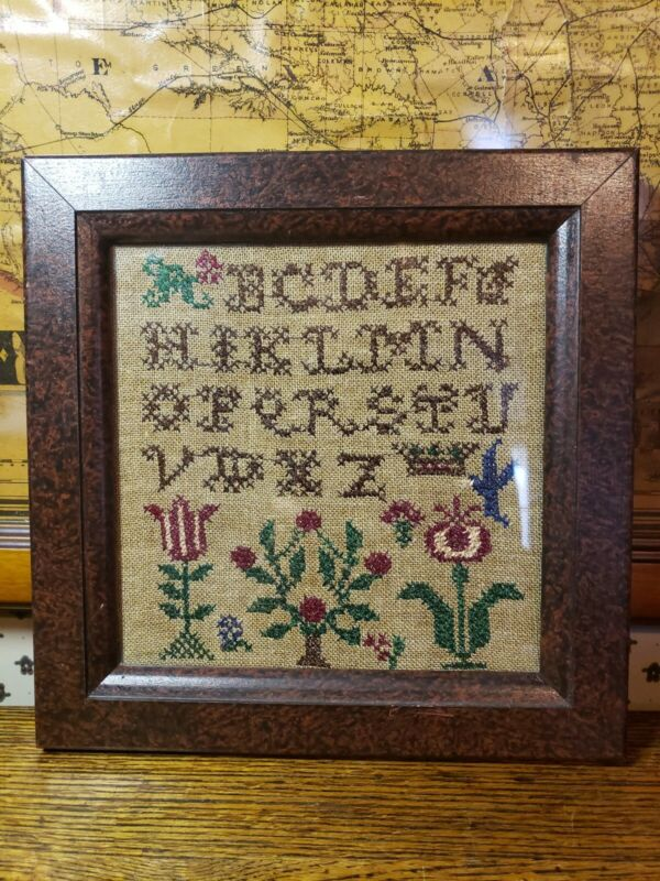 Antique Reproduction Sullins House Embroidery Needlepoint Sampler Alphabet
