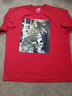 STAR WARS XL Christmas Red T-Shirt Darth Vader Storm Troopers Decorating Tree ss