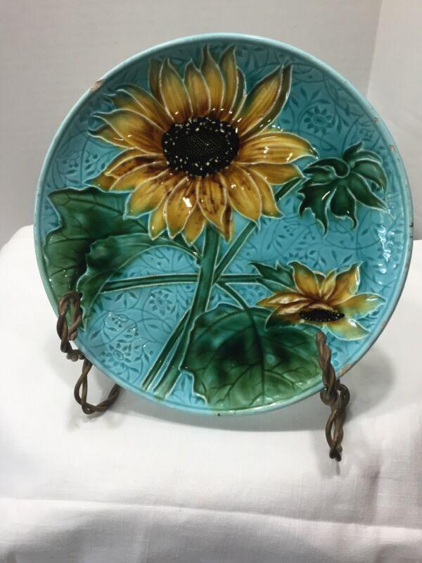 "Antique Majolica Tin Glaze Earthenware Sunflowers On Turquoise 8"""