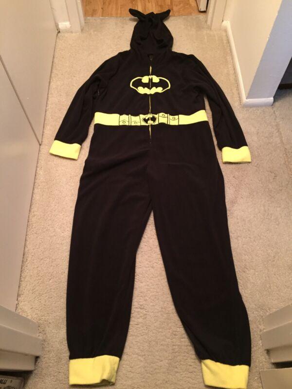Batman Hooded Jumpsuit Pajamas Halloween Costume Size XL DC Comics