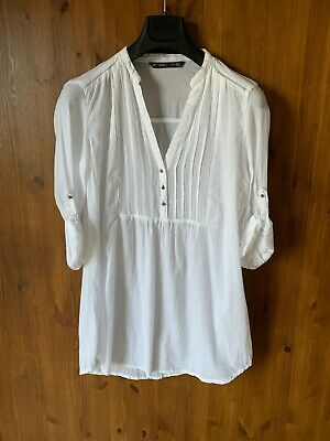 ZARA TOP White Tunic Blouse Longline Boho 100% Cotton XL / UK 16 / 44 - NEW