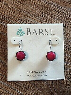 Coral Sterling Silver Dangle Bead - Base Red Coral Sterling Silver Dangle Drop Earrings NEW