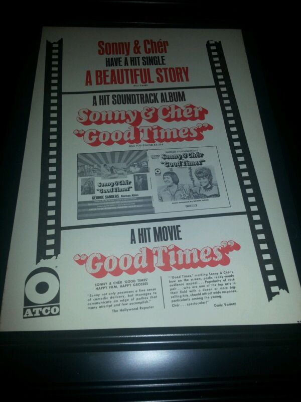 Sonny & Cher A Beautiful Song Good Times Rare Original Promo Poster Ad Framed!