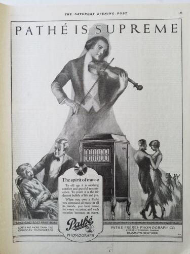 1920 Pathe Phonograph is Supreme Spirit of Music Violin Player Ad