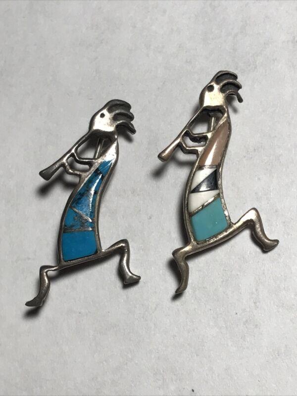 2 Vintage KOKOPELLI Native American Dancer STONE Sterling Silver Brooch Pin 925