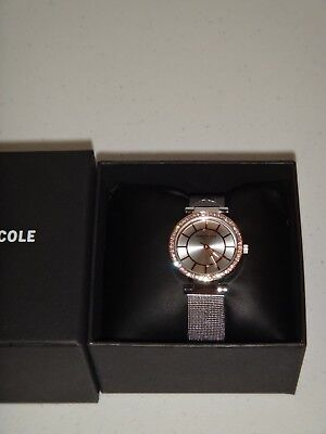 Kenneth Cole Women's 2-Tone Rose Gold Silver S /Steel Mesh Strap Watch Crystals