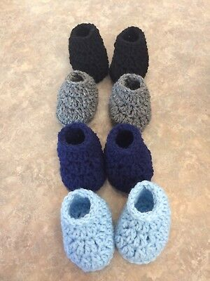 3 Inch Crochet Newborn-3 Month Baby Boy Booties Slippers Shoes Lot Set Of 4