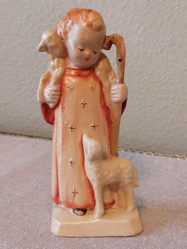Vintage Shepherd Boy Figurine With Sheep Chalkware