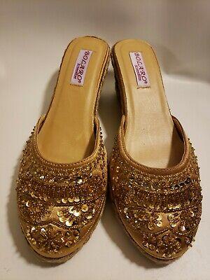 Bolaro By Summer Rio Espadrilles Slides Gold Sequins Size 8.5 (Summer Rio Slide Sandal)
