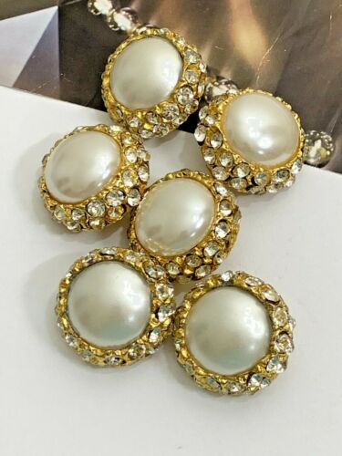 Vintage Gold Tone Mother Of Pearl Clear Rhinestone Shank Large Buttons Lot of 6