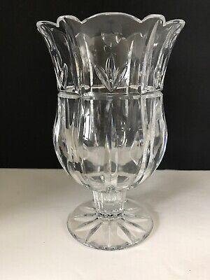 Tulip Garden Pedestal Hurricane Vases Clear Cut Block 24% Lead Crystal 7