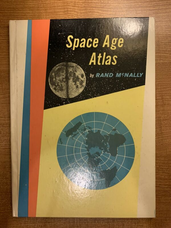 McNally Space Age Atlas 1960 Edition Hardcover Book + World Map