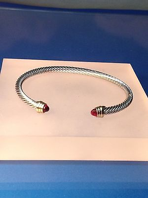 Silver Gold Finish  Ruby Dark Red Crystal  Designer Inspired  Open Cuff Bracelet