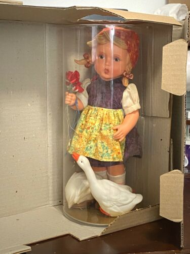 "Goebel Hummel 12"" Girl w Geese and Umbrella Doll Original Tube & Box W GERMANY"
