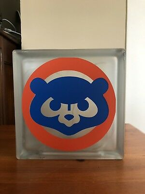 "Chicago Cubs 8"" Frosted Glass Block Light, Man Cave Decor, MLB Fan, Baseball"