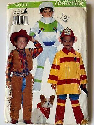 Halloween Butterick Kids Sewing Pattern 4654 2-6x Uncut Cowboy Fireman Astronaut
