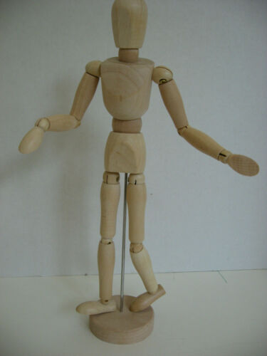Articulated Wood Mannequin Figure Poseable Fully Jointed 12 1/2""