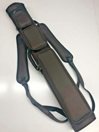 J&J All Brown 3 Butt 4 Shaft 3x4 Duranylon Cue Case With Backpack Straps !!!