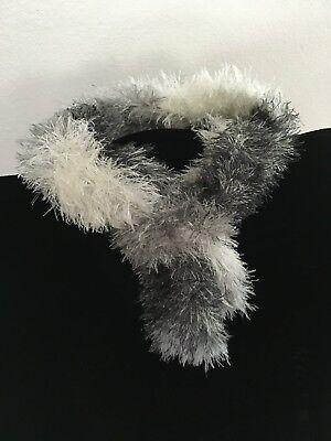 """Handmade Knit Fun Fur Black Silver Grey Scarf Child or Adult 3"""" x 58"""" super soft"""