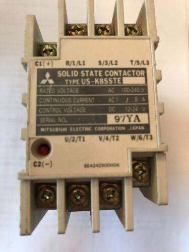MITSUBISHI SOLID STATE CONTACTOR TYPE US-K8SSTE100-200VAC 8A 12-24VDC CONTROL