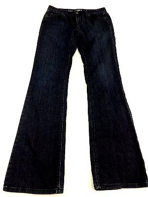 ANN TAYLOR LOFT WOMENS DARK WASH BLUE DENIM MID RISE BOOTCUT JEANS SIZE 26/2