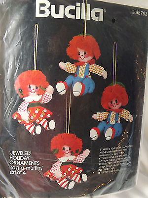 Bucilla Jeweled Holiday Christmas Ornaments Rag-A-Muffin Set of 4 Kit New 48783