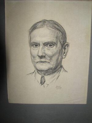 KARL KÖPKE, PORTRÄT ZEICHNUNG, von 1932 , signiert und datiert Weimarer Republik